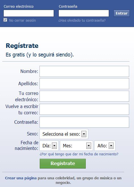 crear cuenta facebook
