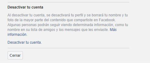 desactivar cuenta facebook