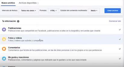 guardar información facebook