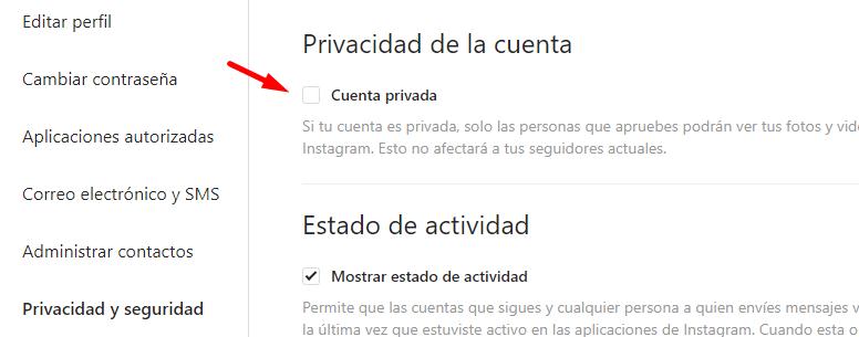 privacidad cuenta no