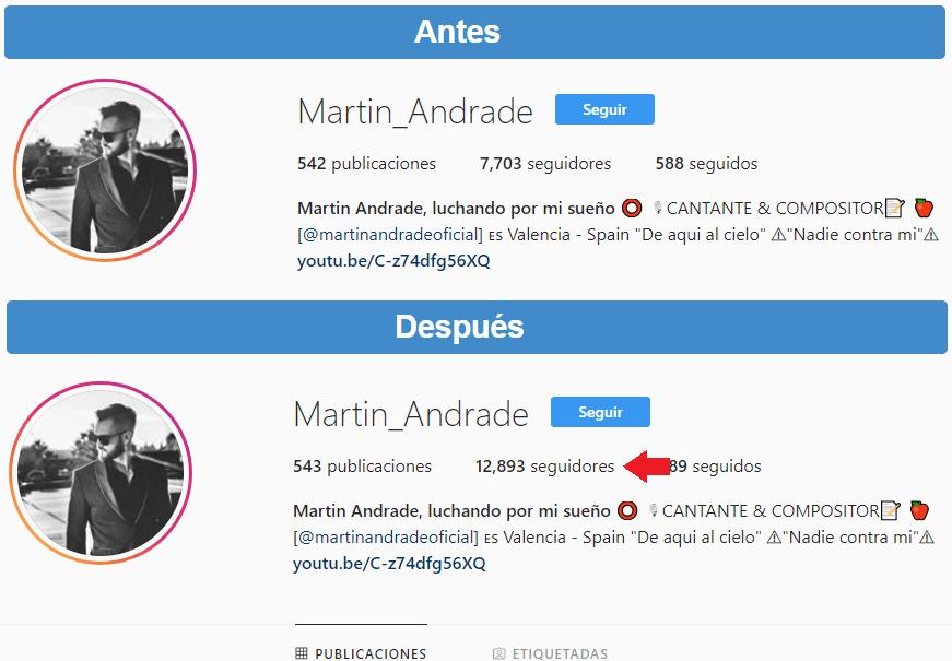 seguidores antes y despues